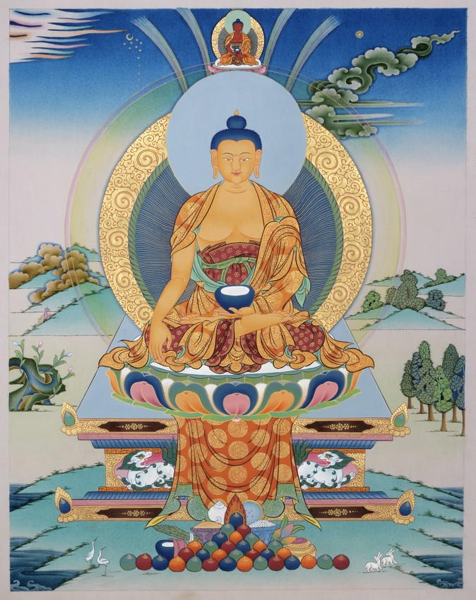 Een traditionele afbeelding van Boeddha Sakyamuni.